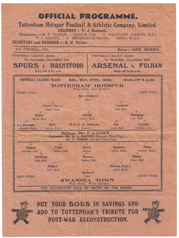 Spurs Collectables - Programme Archive 1945/46